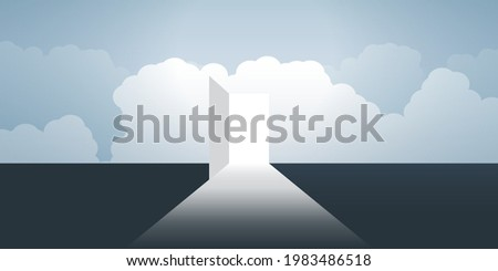 New Possibilities, Hope, Dreams - Business, Solutions Finding Concept - Open Door Under a Cloudy Sky, Light at the End of the Road