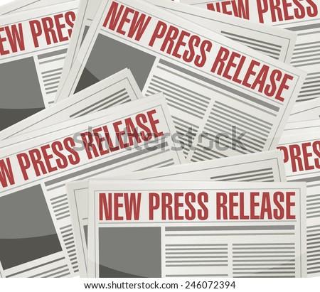 new press release illustration design over a newspaper background