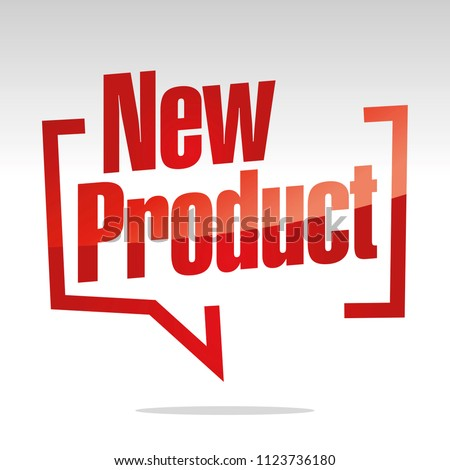 New product in brackets speech red white isolated sticker icon