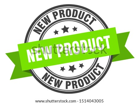 new product label. new product green band sign. new product. new product circular stamp