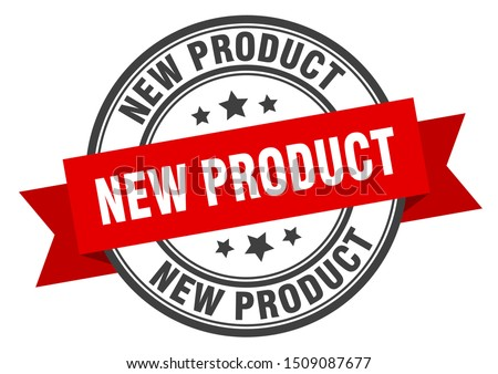 new product label. new product red band sign. new product