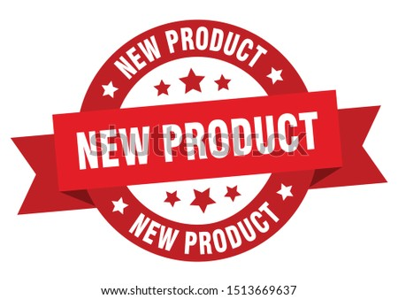 new product ribbon. new product round red sign. new product