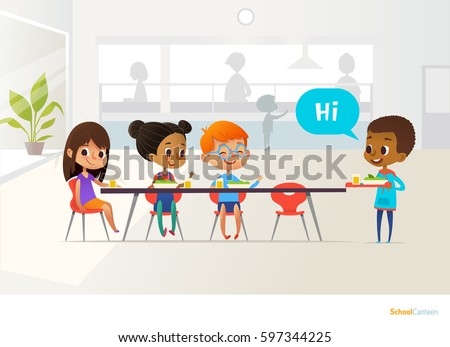 New pupil carrying tray of food and greeting classmates sitting at table in canteen. Children having lunch. Making school friends concept. Vector illustration for banner, website, poster, flyer.
