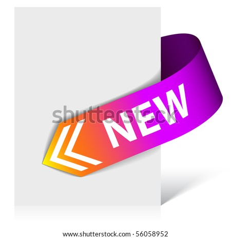 New purple corner ribbon - arrow pointing at the content (vector)