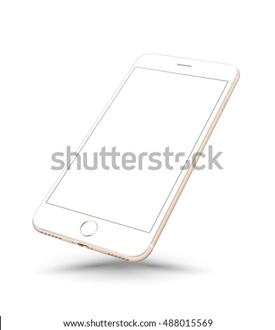 New realistic gold smartphone mockup perspective on white background. Vector illustration.