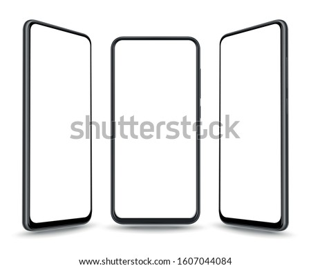 New realistic mobile phone smartphone collection perspective mockups with blank screen isolated on white background.