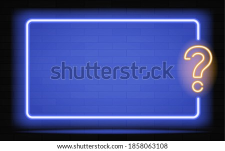 New Realistic neon sign of Quiz frame logo for decoration and covering on the dark wall background. Vector illustration