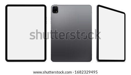New Realistic Scalable Tablet. Grey Space Gray Drawing Pad. Blank Screen Isolated. Front, Back, and Side Display View. High Detailed Device Mockup. Separate Groups and Layers. Editable Vector.