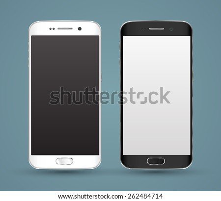 New realistic smartphones  mockups with blank screen isolated. Vector illustration. for printing and web element, Game and application mockup.