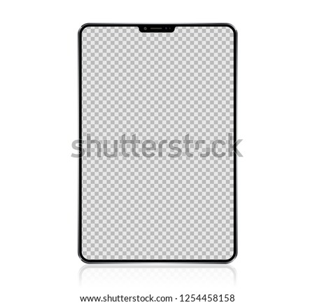 New Realistic Tablet PC Computer with transparent Screen Isolated on white Background. Can Use for Template, Project, Presentation or Banner. Pad. Electronic Gadget, Device Set Mock Up