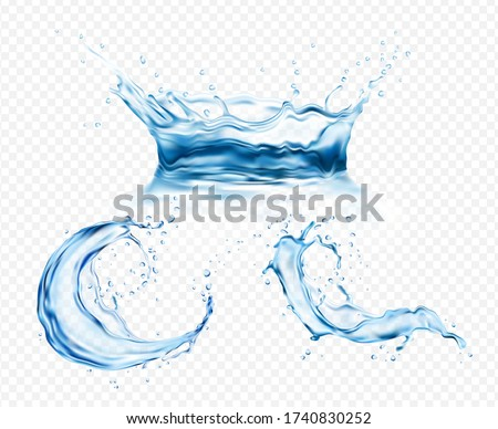 New Realistic transparent isolated set splash of water with drops, a splash of falling water, a splash in the form of a crown, a splash in the form of a circle. 3d vector EPS