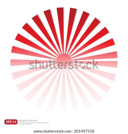 New Red rising sun or sun ray,sun burst vector design