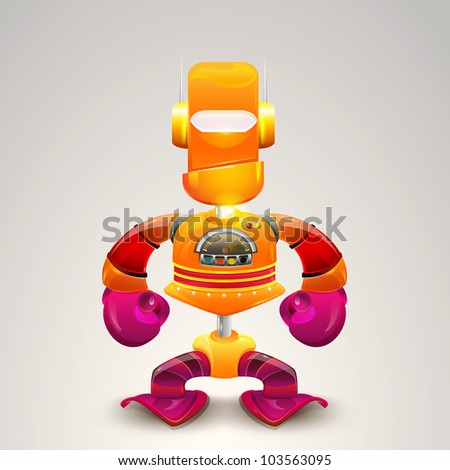 New red robot toy, illustrator  vector