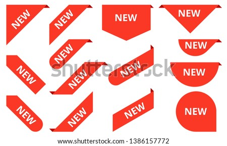 New ribbons. Corner banner, new tag labels and present buttons vector isolated collection