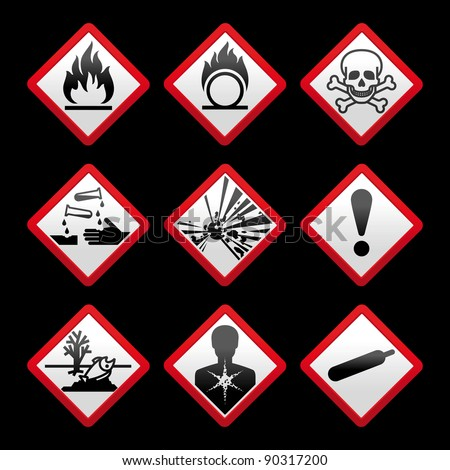New safety symbols Hazard signs Black background