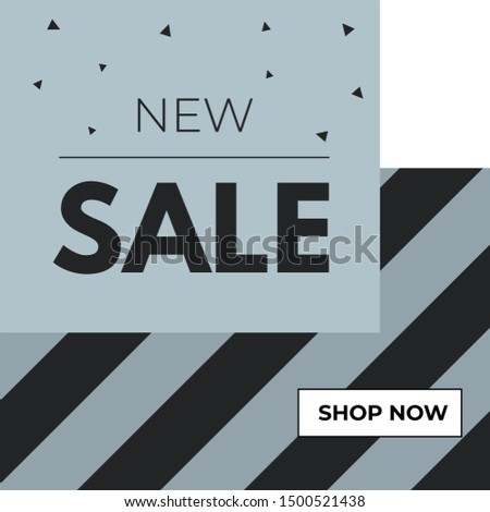 New Sale Banner in abstract design with pattern stripes for social media mobile apps, banner, advertisement, flyer, newspaper ad, magazine ad, website. Abstract pattern. Vector design Shop Now.