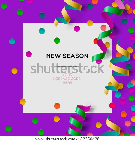 New season invitation template with party confetti, office party, vector illustration.