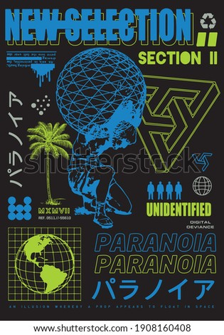 New selection text with statue vector Translation: 'Paranoia.' design for t-shirt graphics, banner, fashion prints, slogan tees, stickers, flyer, posters and other creative use Foto stock ©