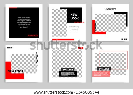 New Set of Editable minimal square banner template. Black and red background color with stripe line shape. Suitable for social media post and web/internet ads. Vector illustration with photo college.