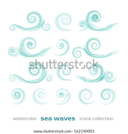 new set of sea waves symbols isolated on white background can use like watercolor icons