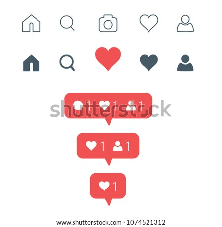 New Set of social media icons. Like, followers, comments, home, camera, user, search buttons. Similar to instagram interface. Vector illustration EPS 10