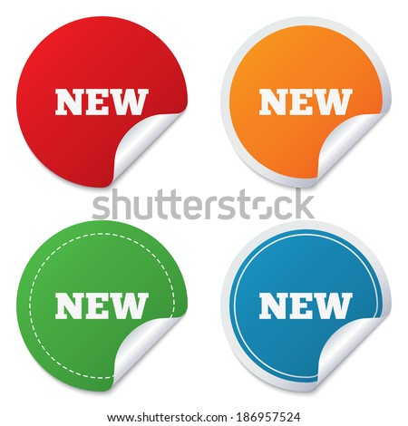 New sign icon New arrival button symbol Round stickers Circle labels with shadows Curved corner Vector