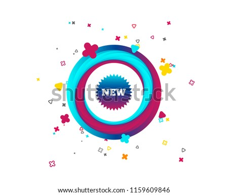 New sign icon. New arrival star symbol. Colorful button with icon. Geometric elements. Vector