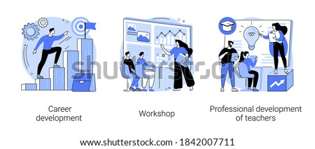 New skills gain abstract concept vector illustration set. Career development, workshop, professional development of teachers, conference and seminar, career change, job success abstract metaphor.