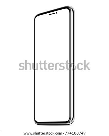 new smart phone vector white screen realistic isolated background