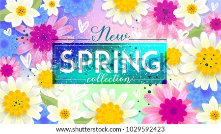 New Spring collection Sale Banner. Paper cut Floral card. Spring blossom. Happy Women's Day. 8 March. Text. Seasonal holiday. Spring Sale Poster, voucher discount. Memphis style spring summer