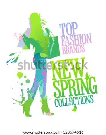 New spring collections design template with shopping woman silhouette and splashes.
