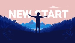 New start - Silhouette of man standing with open arms in landscape with a view to mountains and sea. Aspiration, life changes and new beginnings concept. Vector illustration.
