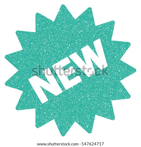 New Sticker grainy textured icon for overlay watermark stamps. Flat symbol with dirty texture. Dotted vector cyan ink rubber seal stamp with grunge design on a white background.