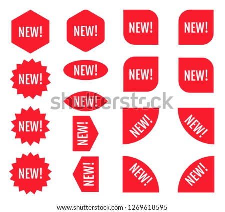 New sticker set. Red promotion labels.  Modern vector flat style illustration isolated on white background. Red promotion labels for new arrivals shop section.