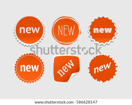 New sticker set. Vector sale banner for web store. Product stickers with offer. Promotional corner located element. Color splash label, tag, badge, icon with text. Accent promotion flyer, frame design #586628147