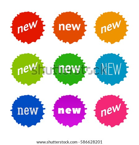 New sticker set. Vector sale banner for web store. Product stickers with offer. Promotional corner located element. Color splash label, tag, badge, icon with text. Accent promotion flyer, frame design #586628201