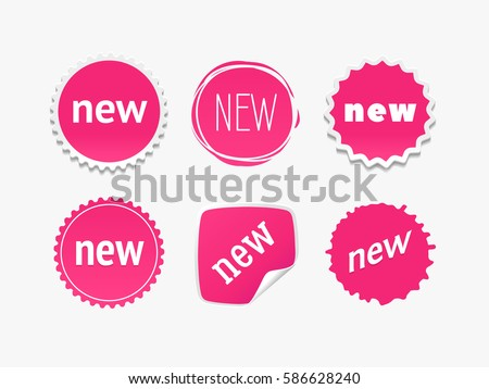 New sticker set. Vector sale banner for web store. Product stickers with offer. Promotional corner located element. Color splash label, tag, badge, icon with text. Accent promotion flyer, frame design #586628240