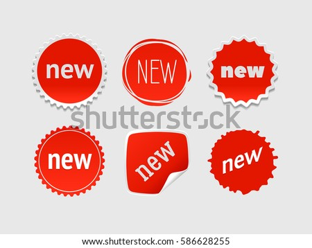 New sticker set. Vector sale banner for web store. Product stickers with offer. Promotional corner located element. Color splash label, tag, badge, icon with text. Accent promotion flyer, frame design #586628255