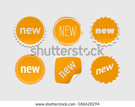 New sticker set. Vector sale banner for web store. Product stickers with offer. Promotional corner located element. Color splash label, tag, badge, icon with text. Accent promotion flyer, frame design #586628294