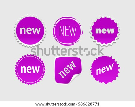 New sticker set. Vector sale banner for web store. Product stickers with offer. Promotional corner located element. Color splash label, tag, badge, icon with text. Accent promotion flyer, frame design #586628771