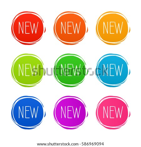 New sticker set. Vector sale banner for web store. Product stickers with offer. Promotional corner located element. Color splash label, tag, badge, icon with text. Accent promotion flyer, frame design