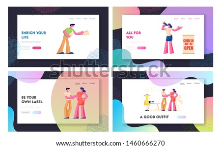 New Store Open Event Website Landing Page Set, Friendly Promoters Giving Invitation Flyers at Store Entrance for Inviting People to Visit New Shop Web Page. Cartoon Flat Vector Illustration, Banner