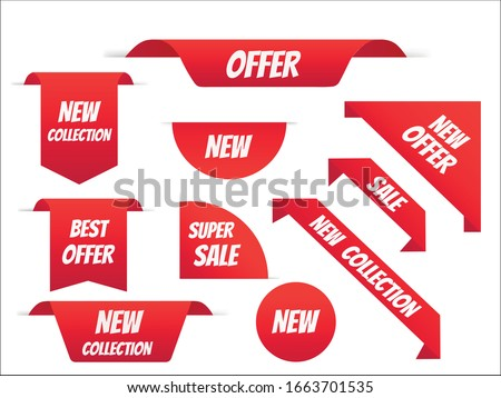 New tag ribbon and banner vector. Big sale special offer. end of season special offer banner. vector illustration.
