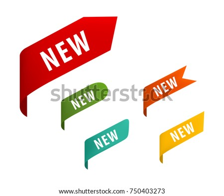 New Tag Ribbon Banner Vector