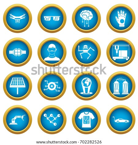 New technologies icons blue circle set isolated on white for digital marketing