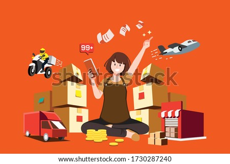 New trader Succeeding in the trade of goods with a variety of transportation services. Good soaring statistic order sales.