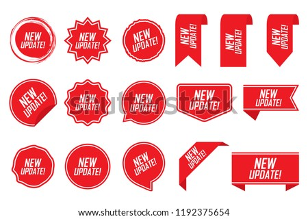 New update tag set in red. Vector illustration. #1192375654