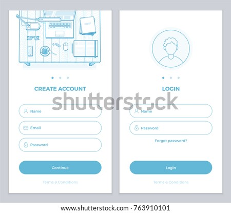 New User Account Create and User Login pages UI for mobile APP or website. Minimalist vector illustration for your website or mobile app. User interface design.