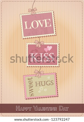 New Valentine Day Card With Stamp Design