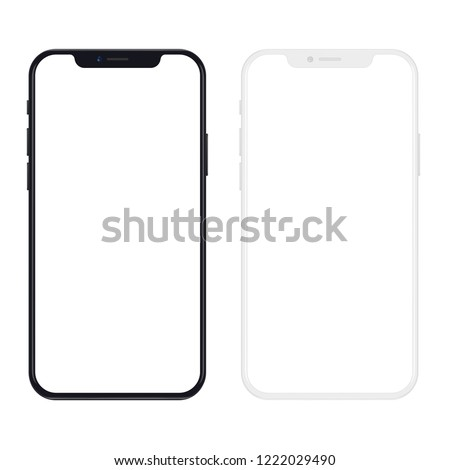 New version of black and white slim smartphone with blank white screen. Realistic phone vector illustration.